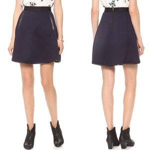 Madewell quilted navy blue skater skirt w leather